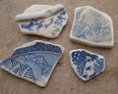 Genuine English sea glass huge BLUE & WHITE beach POTTERY unusual pieces