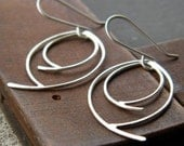 Double Leaves - original sterling silver dangling earrings, small size