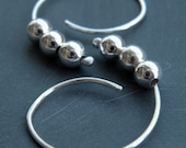RESERVED - Just For Susan - Baby Moon - handmade sterling silver open hoop earrings