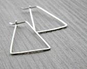 Tiangular Hoop Earrings - sterling silver geometric hoop earrings, Etsy