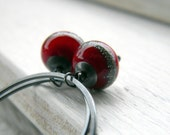 CIJ FREE SHIPPING - Cranberry Hoops - handmade oxidized sterling silver hoop earrings with red venetian glass beads charm