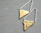 Drop Brass Earrings - handmade solid brass and silver dangle half moon earrings, Etsy