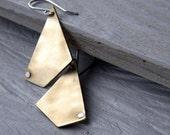 Brass  Geometric Dangle Earrings - Mr. Almost Pentagon - Urban Look - sterling silver hooks  earrings, Etsy