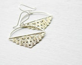 Filigree Chandelier Earrings - antiqued vintage filigree and sterling silver dangle earrings
