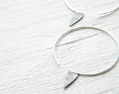 Sterling Silver  Geometric Spike Hoops - handmade sterling silver hoop oxidized and scratched, big hoop earrings,