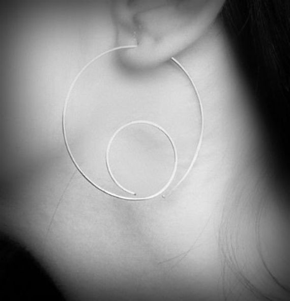 Snail Open Hoop Earrings - sterling silver looping open hoop earrings, made in Italy