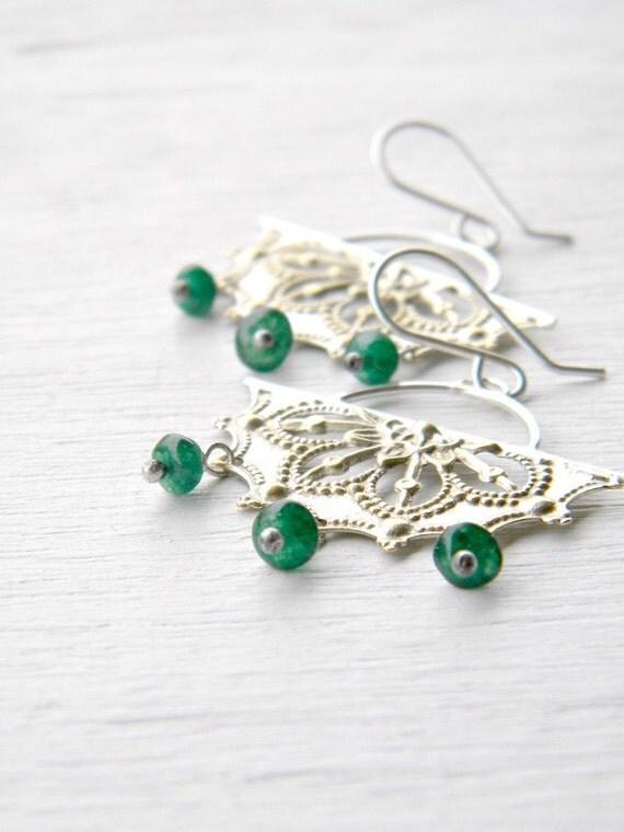 Filigree Chandelier Earrings, Green Onyx - sterling silver and vintage stamped filigree chandelier earrings, Etsy