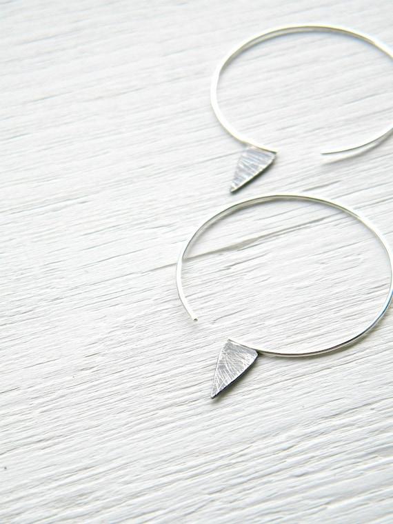 Sterling Silver  Geometric Spike Hoops - handmade sterling silver hoop oxidized and scratched, big hoop earrings,
