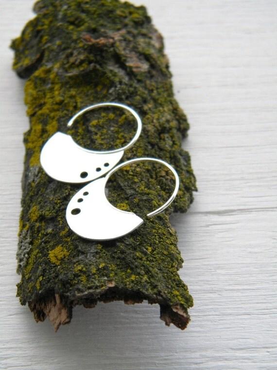 Little Urban Hoops ... 3 dots-  handmade sterling silver organic look hoop earrings