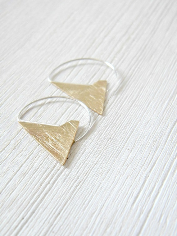 Brass Geometric Earrings - handmade solid brass and sterling silver scratched earrings, Etsy