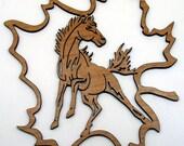 Fretwork Horse Maple Leaf 2 Ornament
