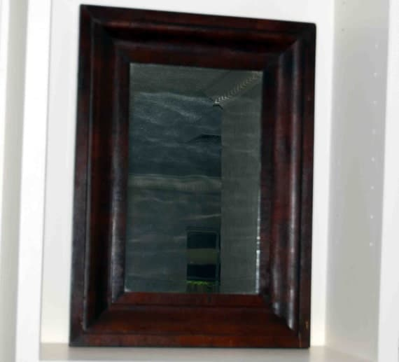 Antique wood framed mirror 24 1 2 x 18 inches by for Mirror 18 x 24