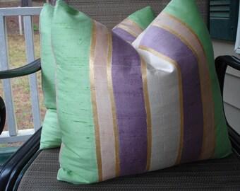 Silk Stripe Pillow Covers One Pair 18 x 18 Handmade Home Decor Mint Purple Pillows Glam Pillows Elegant Pillows Romantic Pillows