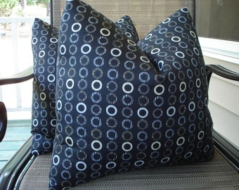 Circles Pillow Covers One Pair 18 x 18 Handmade Black Pillows Home Decor Modern Pillows Cotton Pillows Decorative Throw Pillows Cushions
