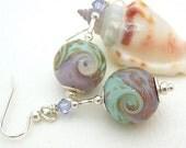 Copper Green Lilac Lampwork Earrings, Sterling Silver Earrings, Beaded Earrings - NEBULA