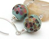 Etched Lampwork Earrings, Aqua Blue Beaded Earrings, Sterling Silver - GYPSY MELODY