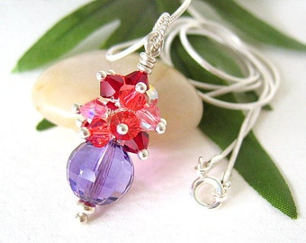 Purple Amethyst Beaded Cluster Pendant Necklace, Red Pink Mauve, Sterling Silver - ROCKET STAR