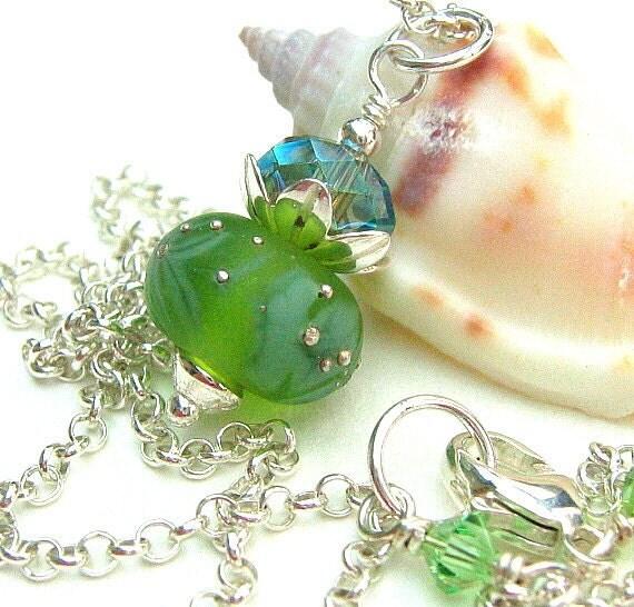 Lampwork Necklace, Green Glass Pendant, Silver Chain Necklace, Beaded Necklace, Sterling Silver - FROSTY MEADOW