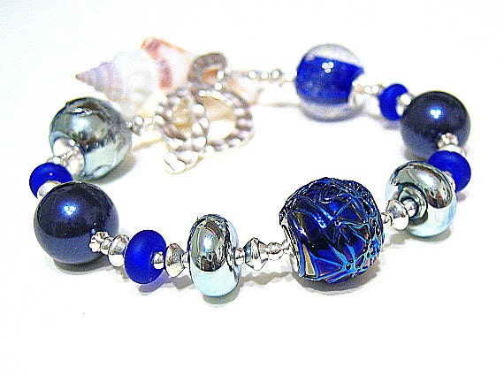 Blue Glass Bead Bracelet, Artisan Lampwork, Sterling Silver - BLUE MOON