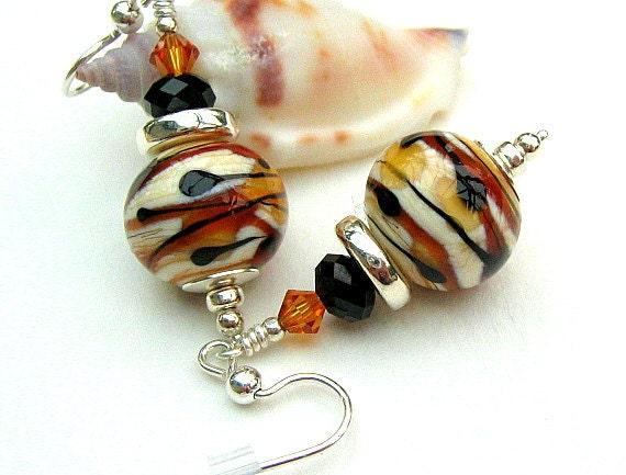 Ivory Brown Black Lampwork Glass Beaded Earrings, Sterling Silver  - CARAMEL MELT