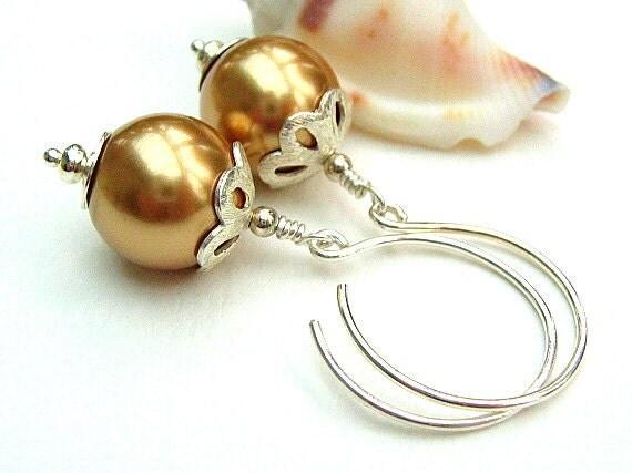 Gold Pearl Earrings,Glass Bead Earrings,Sterling Silver,Swarovski -  GOLDEN FROST