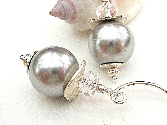 Silver Grey Pearl Earrings, Gray Glass Pearl Earrings, Sterling Silver Beaded Earrings, Swarovski - SILVER GHOST
