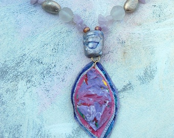 Lavender lilac treasure necklace upcycled palette in summer colors