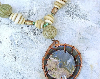 Earth dweller primitive upcycled palette necklace in neutral colors