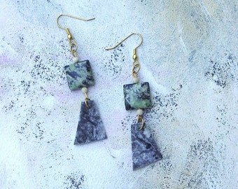 Ebony and ivory dangle earrings upcycled palette winter colors