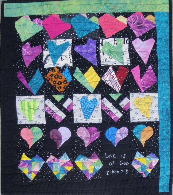 Wedding Funky  Hearts - Love Is Of God Wall Quilt