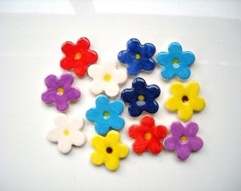 12 ceramic handmade blossom flower shape mosaic tiles