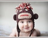 CROCHET PATTERN  Aukies MONKEY Hat   size 6-12 month and 12-24month