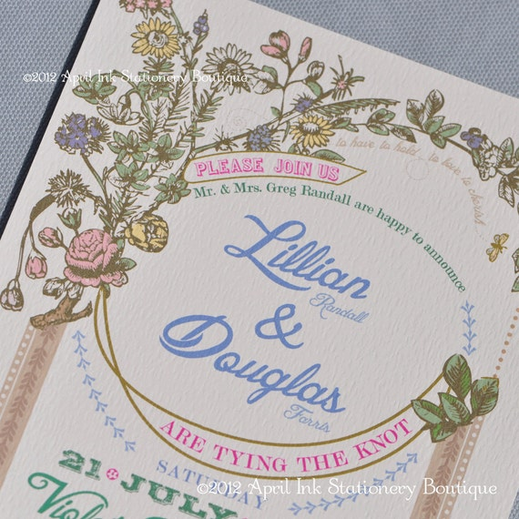 items similar to vintage botanical wedding invitation With etsy botanical wedding invitations