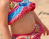 """Teeny Weeny """"Ruffled Ella""""  Bikini swim diaper set"""