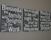 Psalms 1 set of 3 in Black - 12x12 CAFE MOUNT