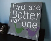 Two are Better than One - in Gray with Olive Green and Purple Birds 12x12 CAFE MOUNT