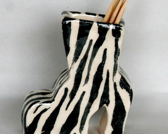 Zebra Shoe Toothpick Holder