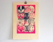 Circles of Friends - art print - risograph - fluorescent - modern design - affordable art
