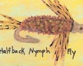PIF    ACEO FLY FISHING -HALFBACK NYMPH FLY by  Barbara Black