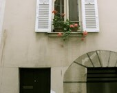 50% off Clearance, Flowers in the Window- postcard- Paris window