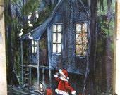 Christmas Santa Swamp Folk art Painting at Sundown gift delivery St Nick holiday KeROBinson