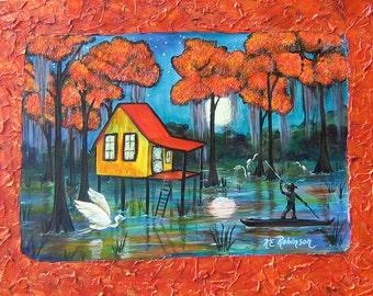 Trapper John's Swamp House Everglades Original Sundown Painting Art by KeROBinson