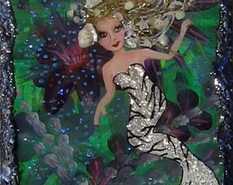 KeROBinson shell Mermaid Seahorse original painting fantasy art