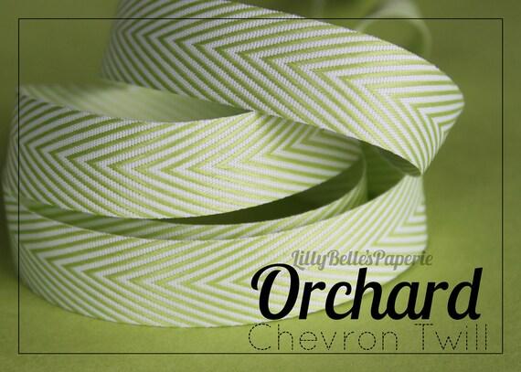 "3/4"" Chevron Twill Ribbon - Orchard"