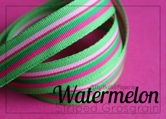 "5/8"" Watermelon Striped Grosgrain Ribbon"