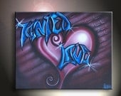 Graffiti Abstract Tainted Love Heart On Wall Original  Artwork 16x20 Blue Pink Red