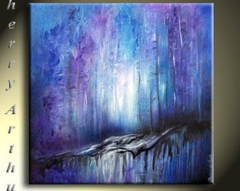 Abstract Blue Purple Black White Light Infused Textured Original Artwork 25x25 Seeping In