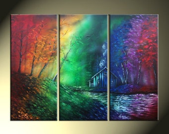 Rainbow Painting Three Canvas Set Landscape Original Artwork Total Size 25x36 House Water Trees Painting On Canvas
