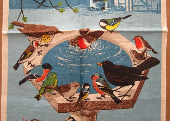 Irish Linen Dish Towel, Bird Motif