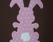 Ready to Ship - 12-24m Pink Polka Dot Bunny Appliqued Brown Tee